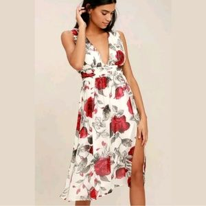 Lulu's Queen of Hearts White Floral Midi Dress